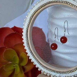 Carnelian & Sterling Silver Drop Earrings